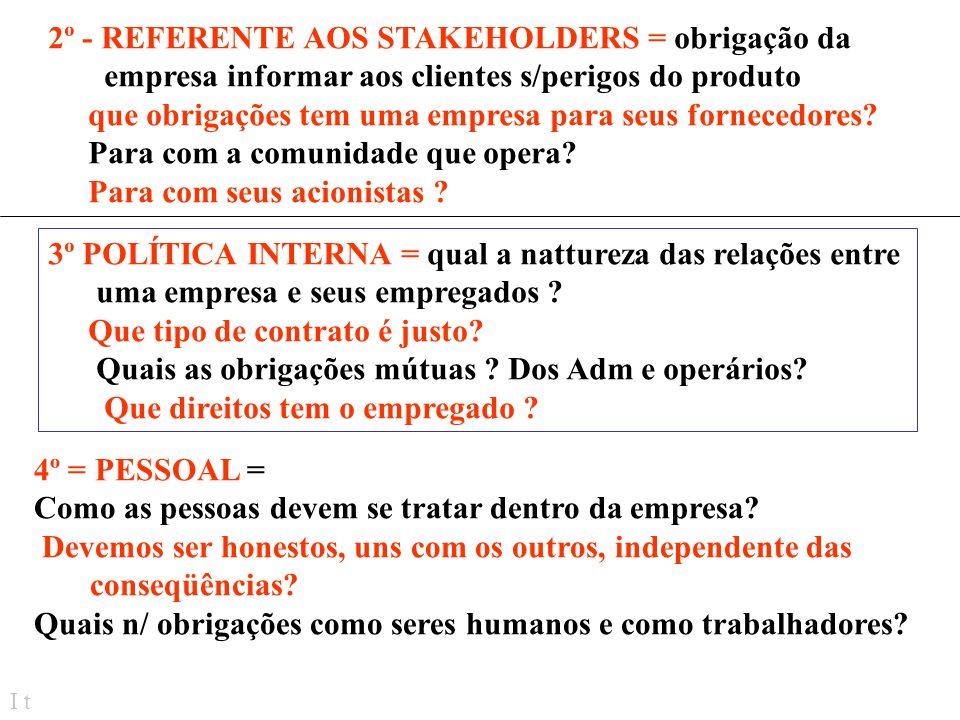 2º - REFERENTE AOS STAKEHOLDERS = obrigação da