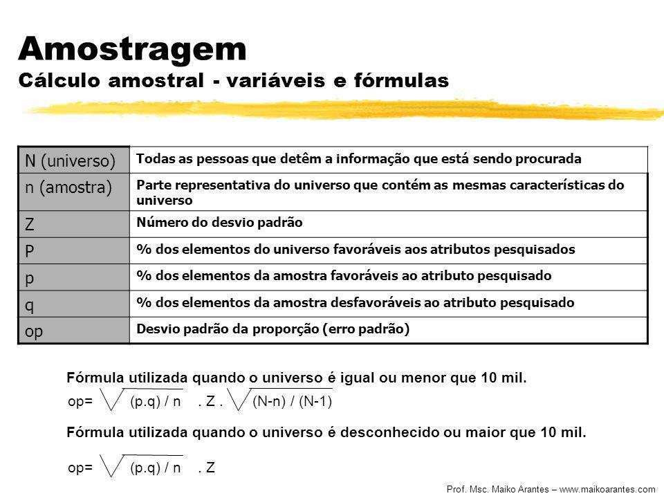Amostragem Cálculo amostral - variáveis e fórmulas