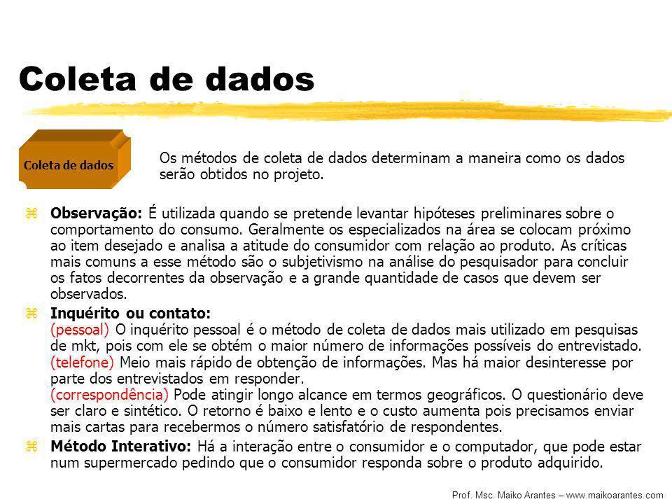 Coleta de dados Coleta de dados. Os métodos de coleta de dados determinam a maneira como os dados serão obtidos no projeto.
