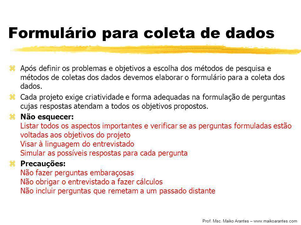 Formulário para coleta de dados