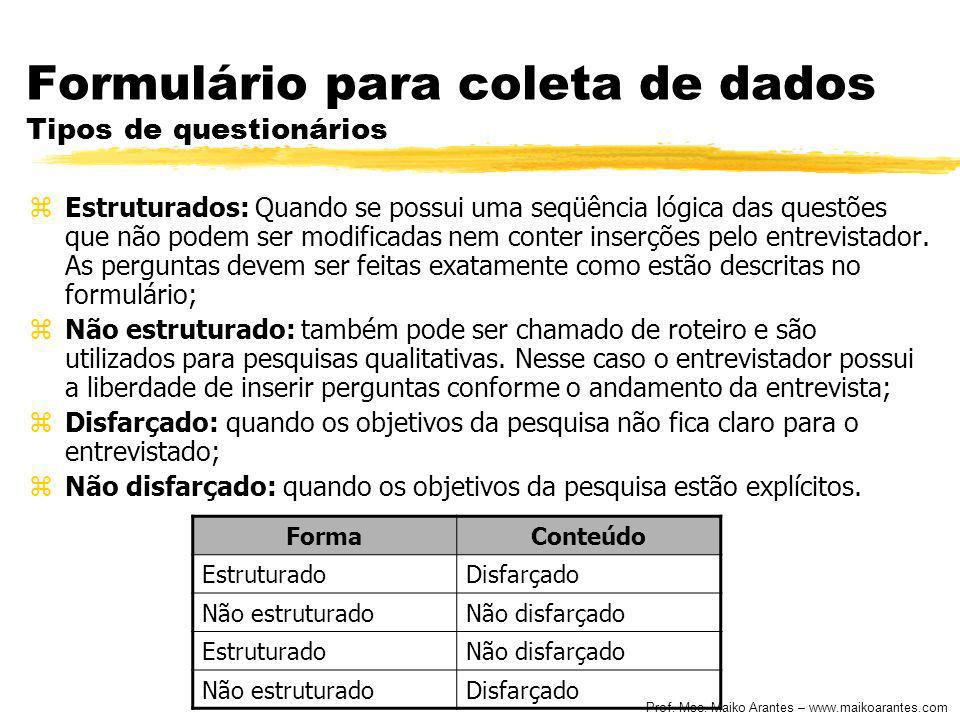 Formulário para coleta de dados Tipos de questionários