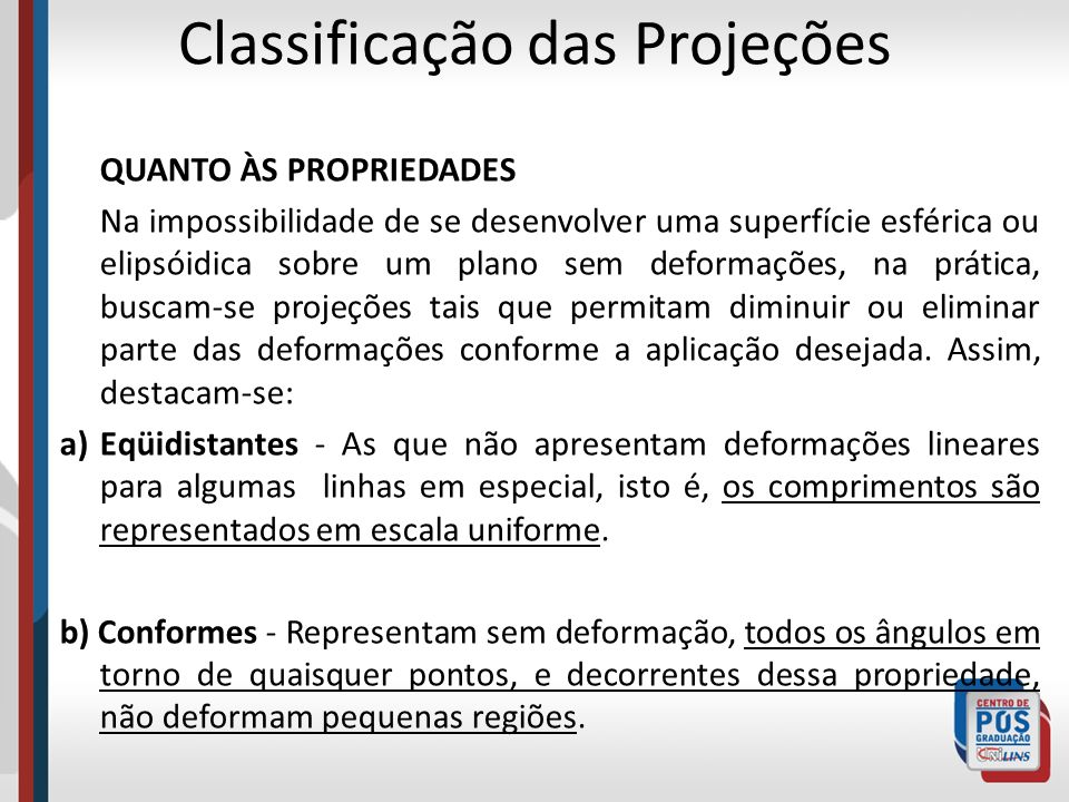 Classificação das Projeções