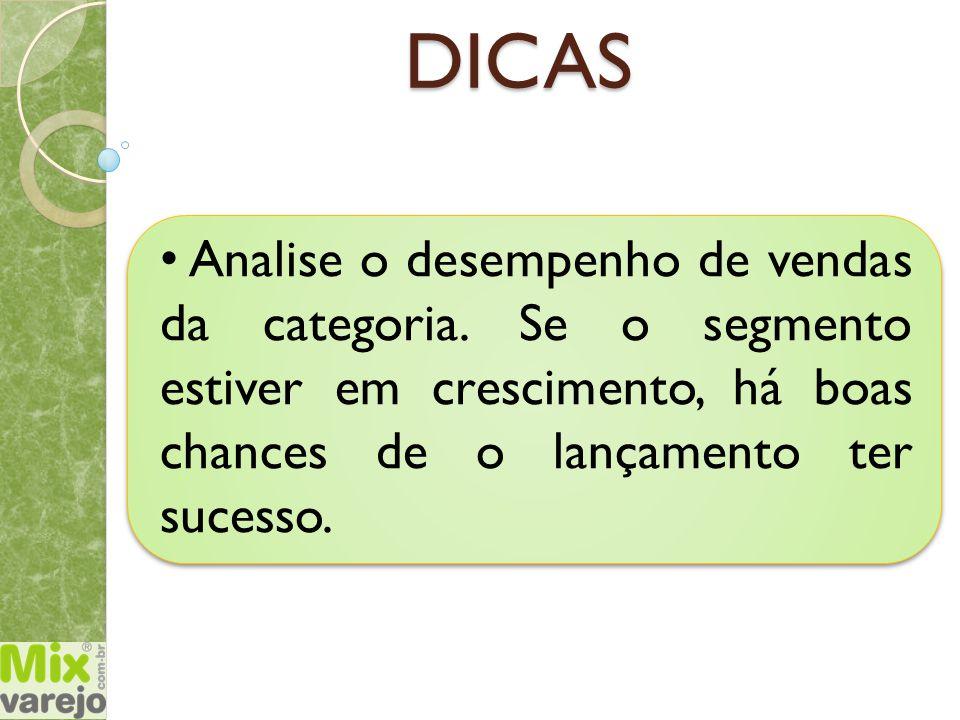 DICAS Analise o desempenho de vendas da categoria.