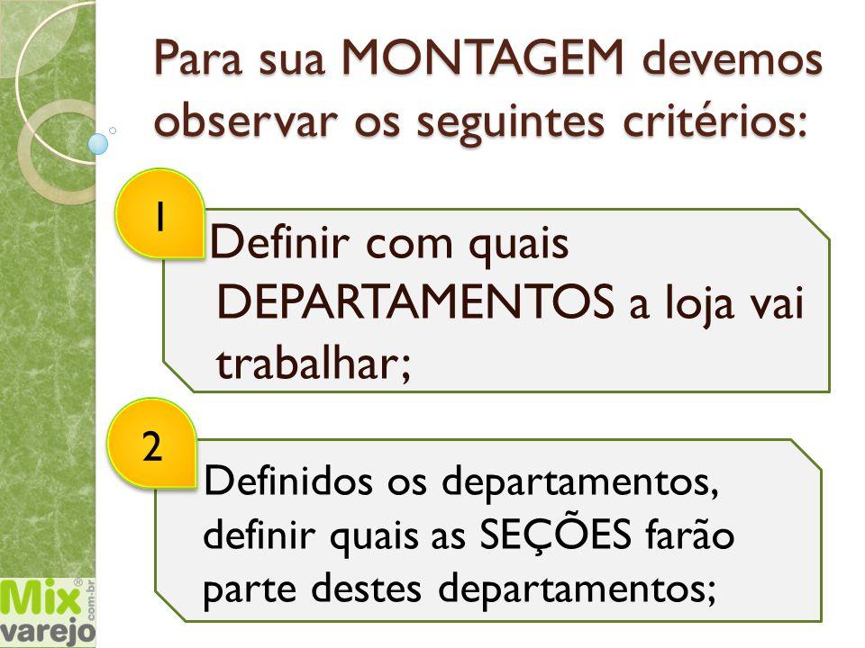 Para sua MONTAGEM devemos observar os seguintes critérios: