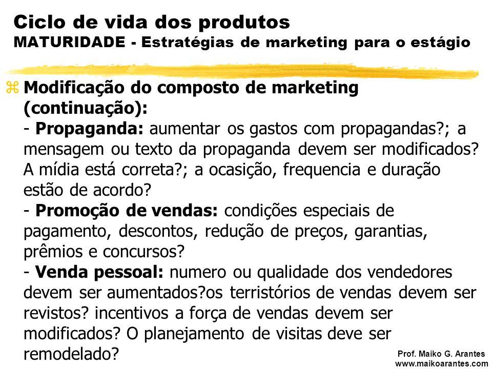 Ciclo de vida dos produtos MATURIDADE - Estratégias de marketing para o estágio