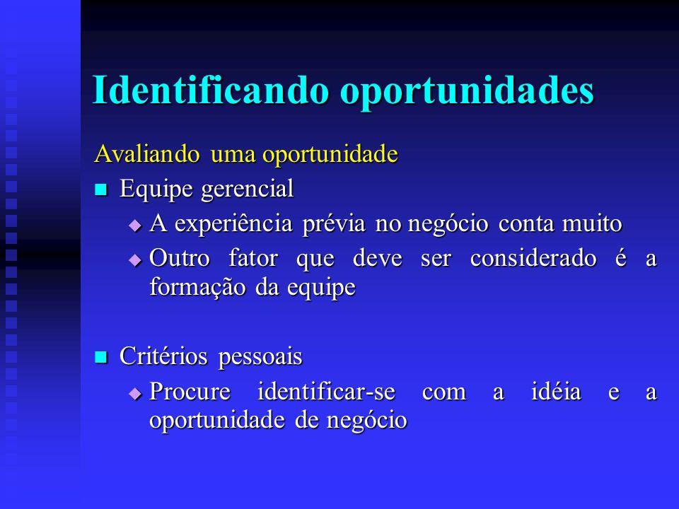Identificando oportunidades