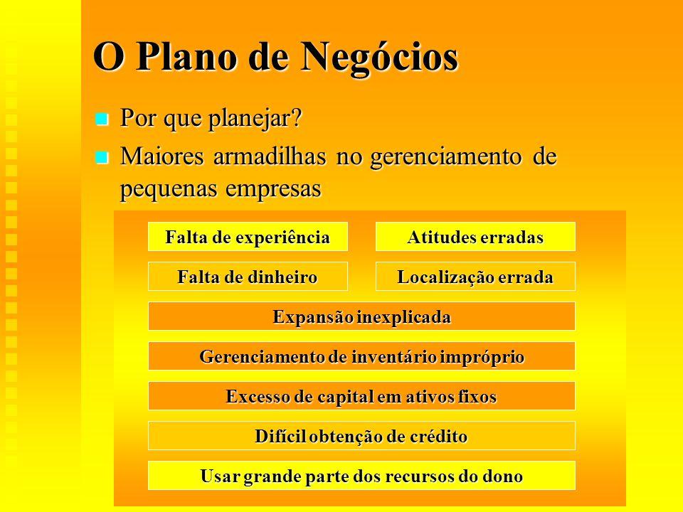 O Plano de Negócios Por que planejar