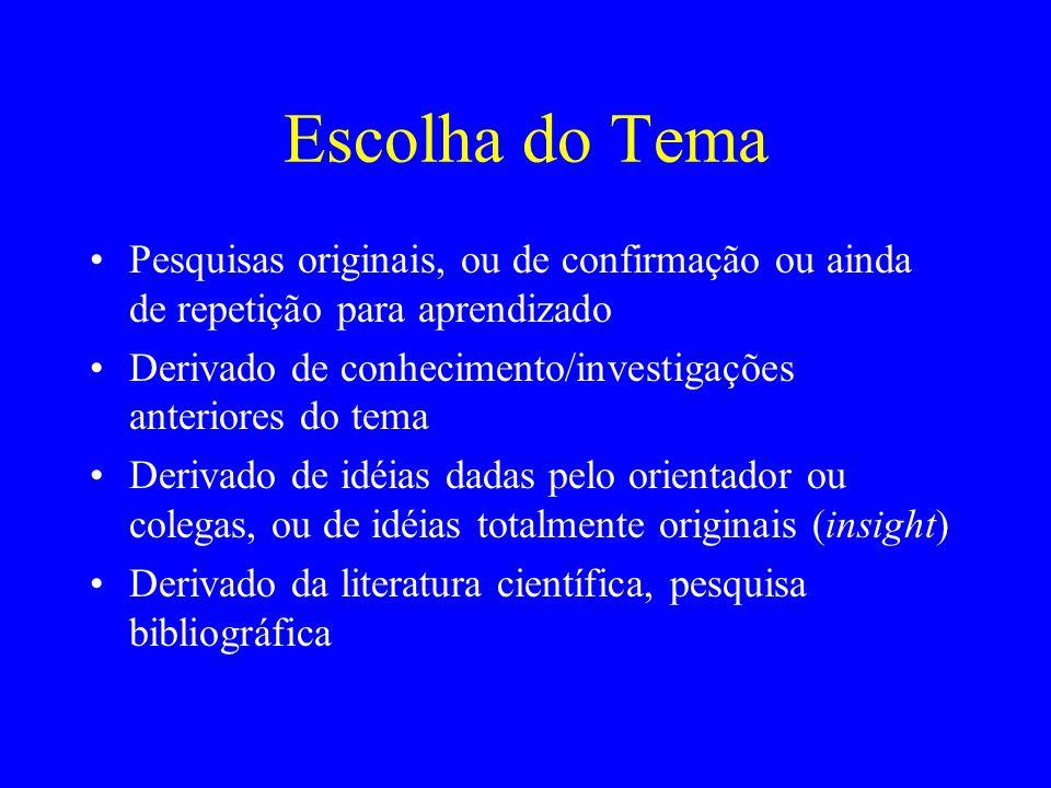 Escolha do TemaPesquisas originais, ou de confirmação ou ainda de repetição para aprendizado.