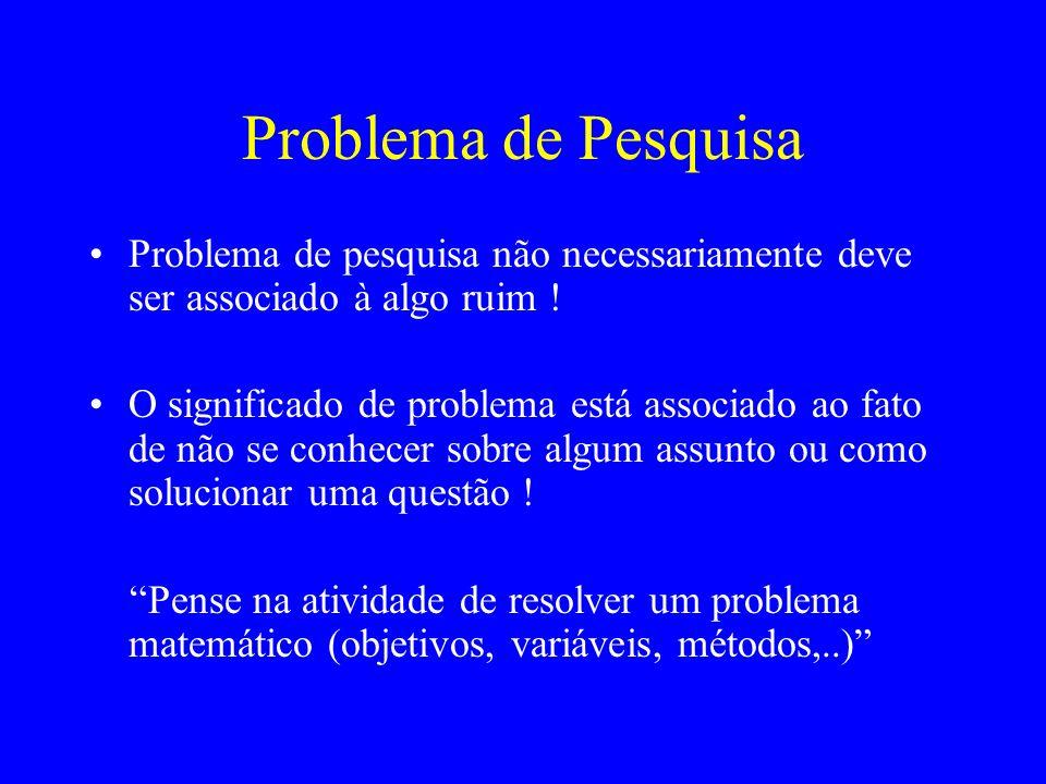 Problema de Pesquisa Problema de pesquisa não necessariamente deve ser associado à algo ruim !
