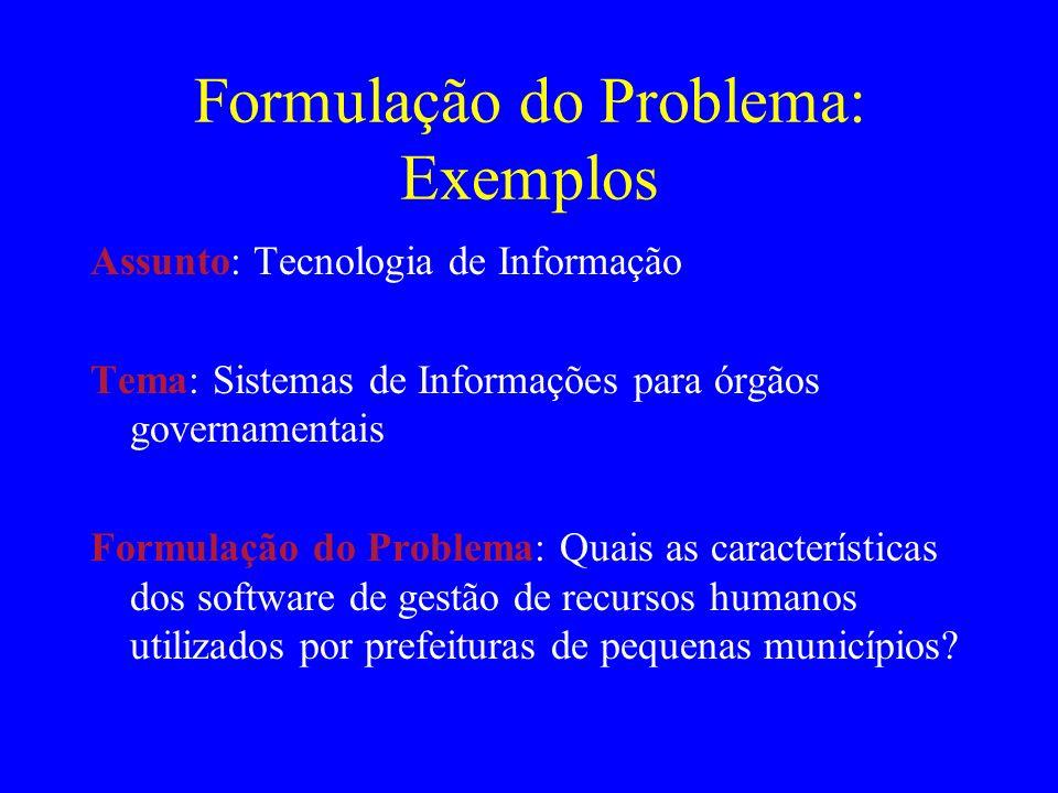 Formulação do Problema: Exemplos