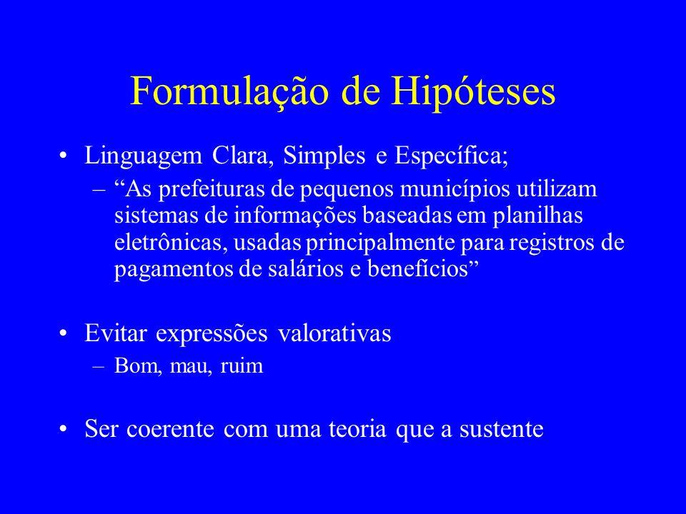 Formulação de Hipóteses