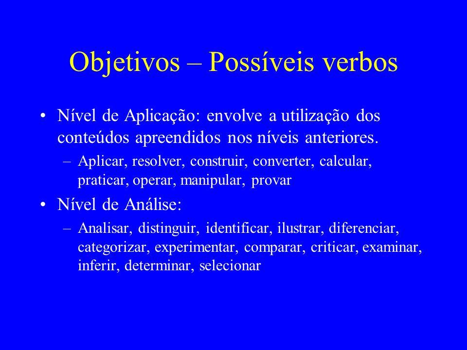 Objetivos – Possíveis verbos