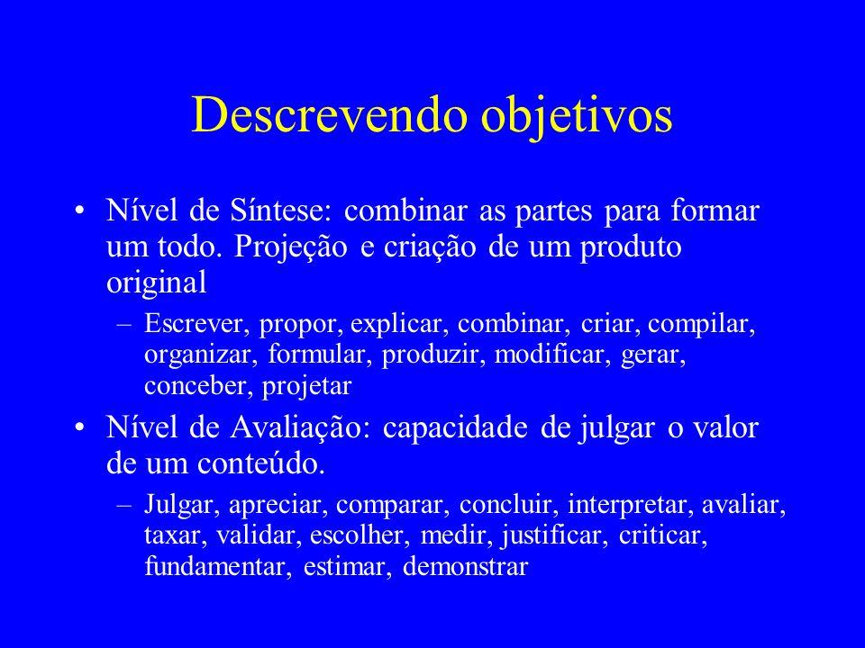 Descrevendo objetivos