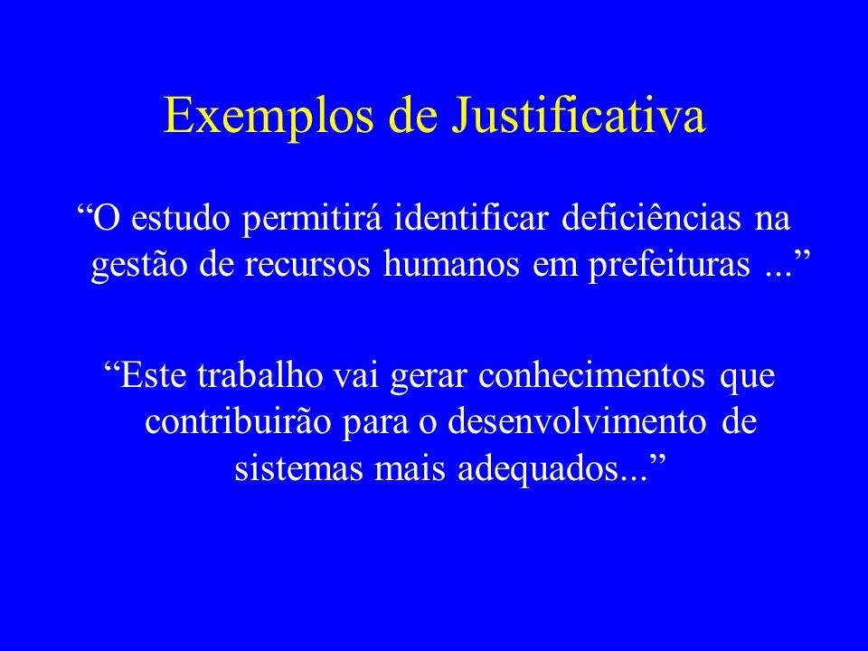 Exemplos de Justificativa