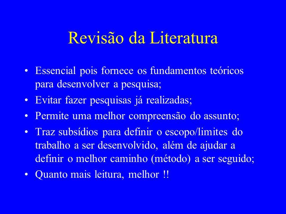 Revisão da LiteraturaEssencial pois fornece os fundamentos teóricos para desenvolver a pesquisa; Evitar fazer pesquisas já realizadas;