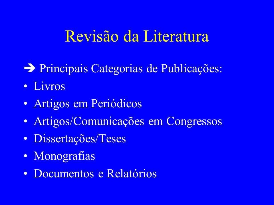 Revisão da Literatura  Principais Categorias de Publicações: Livros