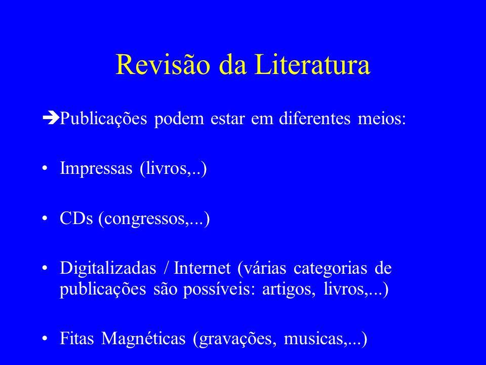 Revisão da Literatura Publicações podem estar em diferentes meios: