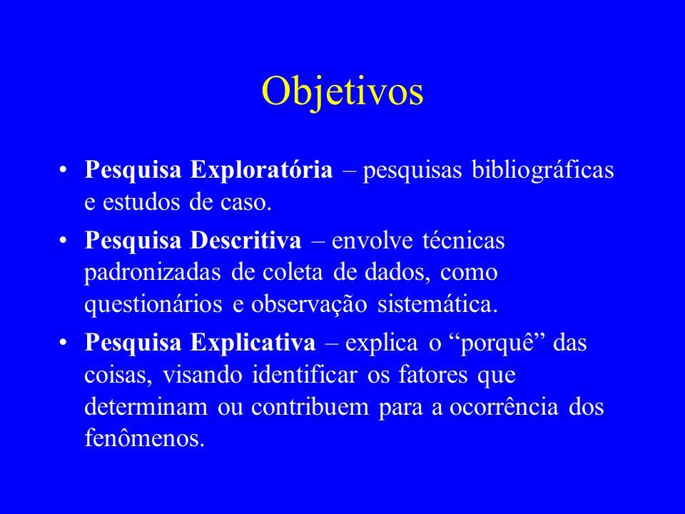 Objetivos Pesquisa Exploratória – pesquisas bibliográficas e estudos de caso.