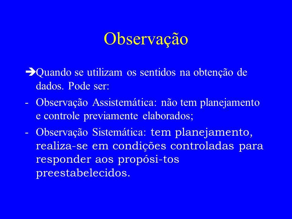 ObservaçãoQuando se utilizam os sentidos na obtenção de dados. Pode ser: