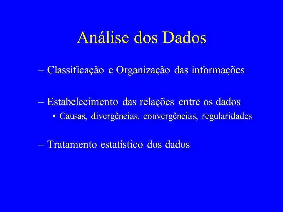 Análise dos Dados Classificação e Organização das informações