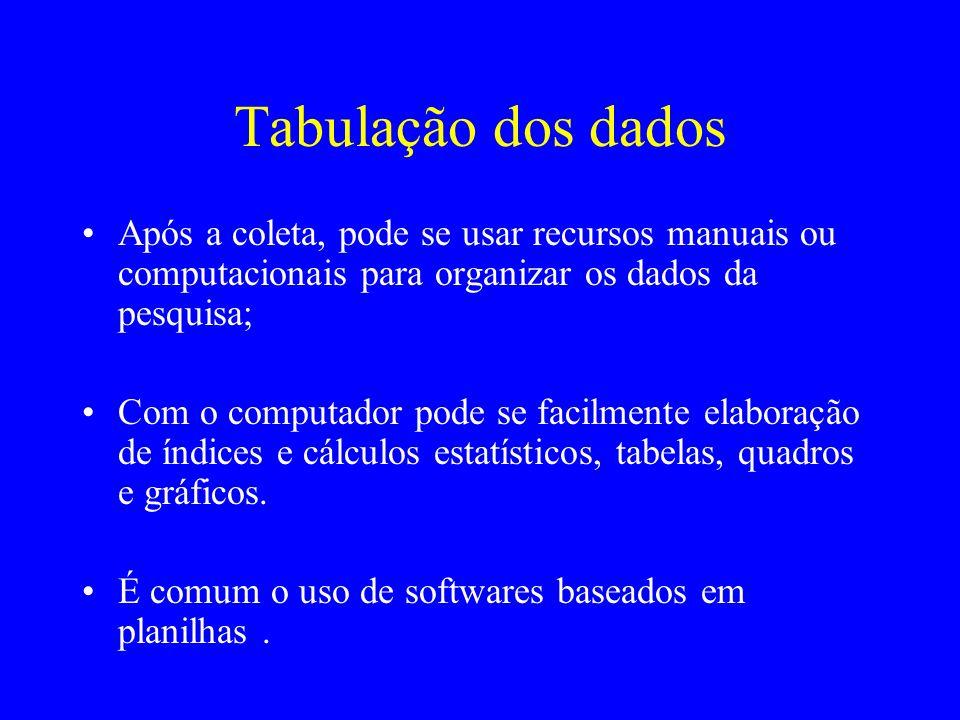 Tabulação dos dadosApós a coleta, pode se usar recursos manuais ou computacionais para organizar os dados da pesquisa;