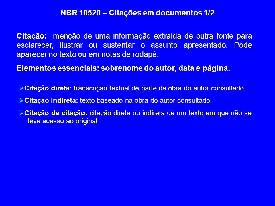 NBR 10520 – Citações em documentos 1/2