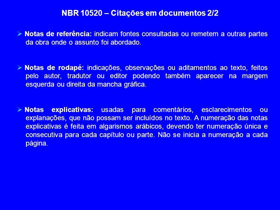 NBR 10520 – Citações em documentos 2/2