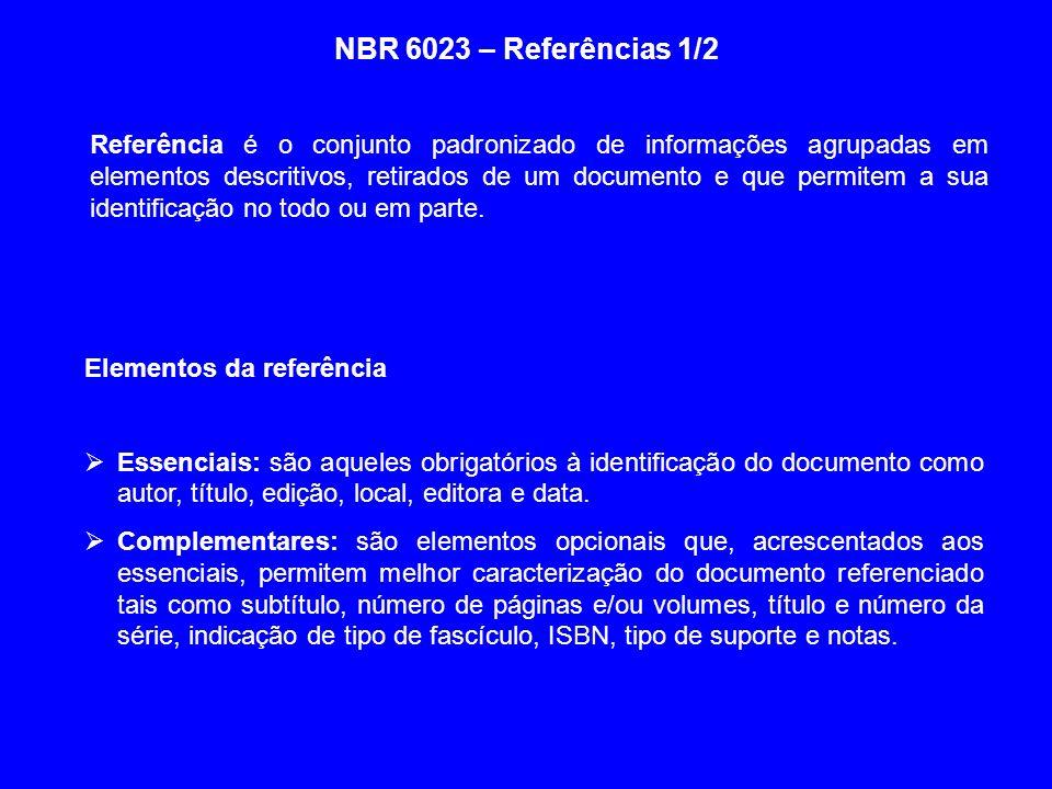 NBR 6023 – Referências 1/2