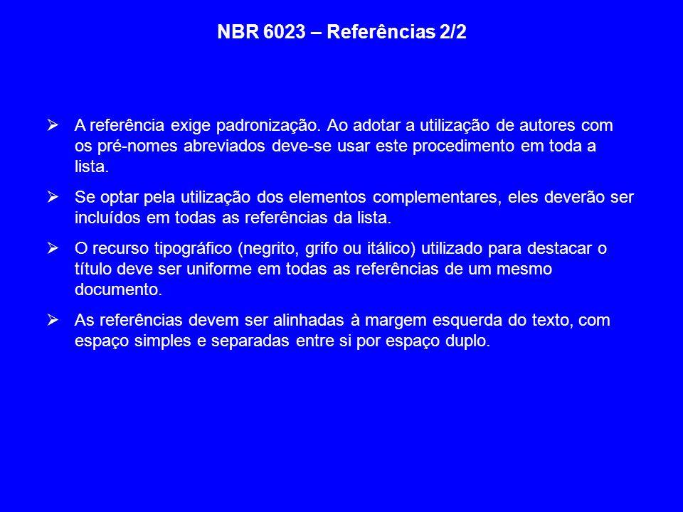 NBR 6023 – Referências 2/2