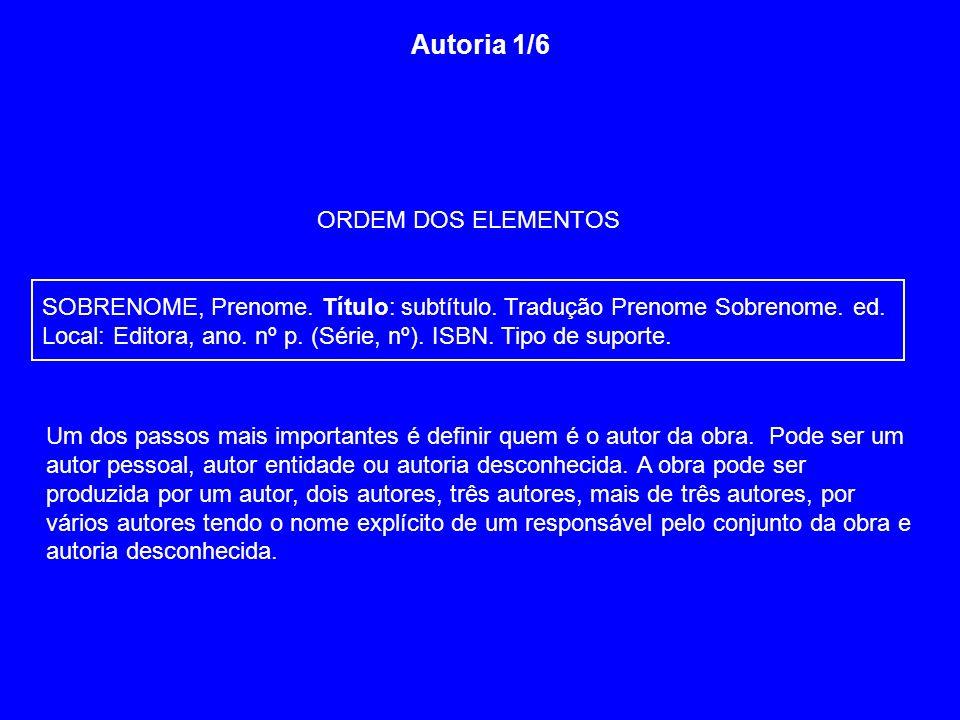 Autoria 1/6 ORDEM DOS ELEMENTOS