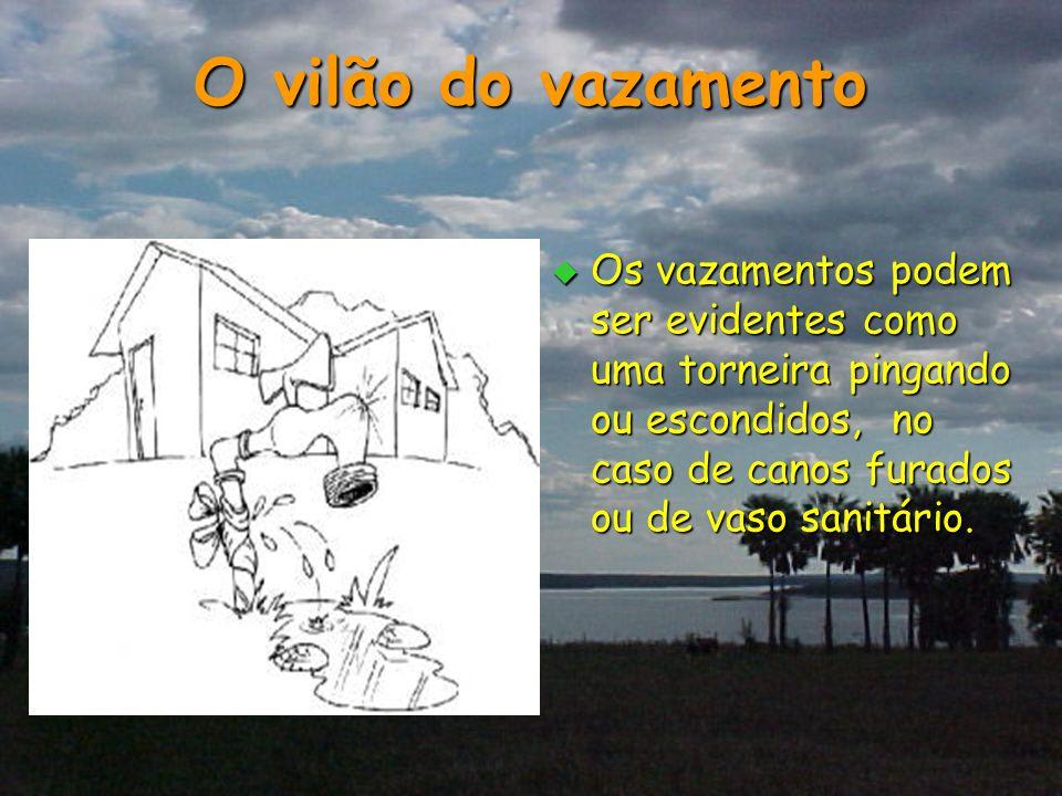O vilão do vazamento Os vazamentos podem ser evidentes como uma torneira pingando ou escondidos, no caso de canos furados ou de vaso sanitário.