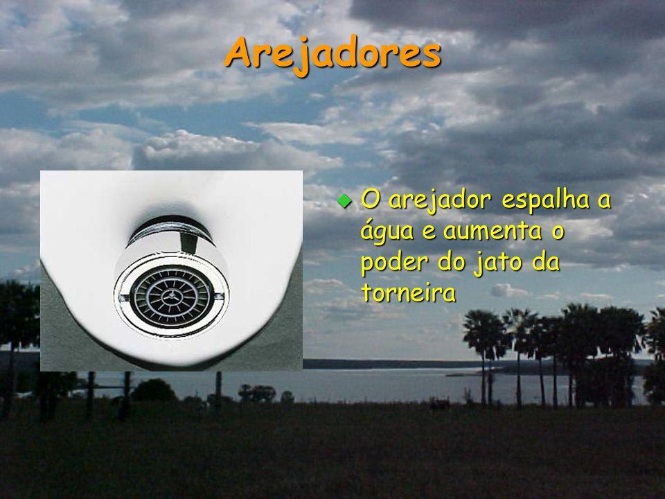 Arejadores O arejador espalha a água e aumenta o poder do jato da torneira