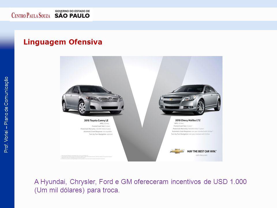 Linguagem OfensivaA Hyundai, Chrysler, Ford e GM ofereceram incentivos de USD 1.000 (Um mil dólares) para troca.