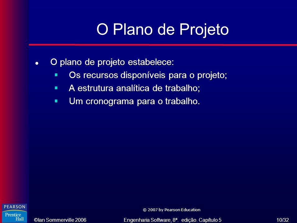O Plano de Projeto O plano de projeto estabelece: