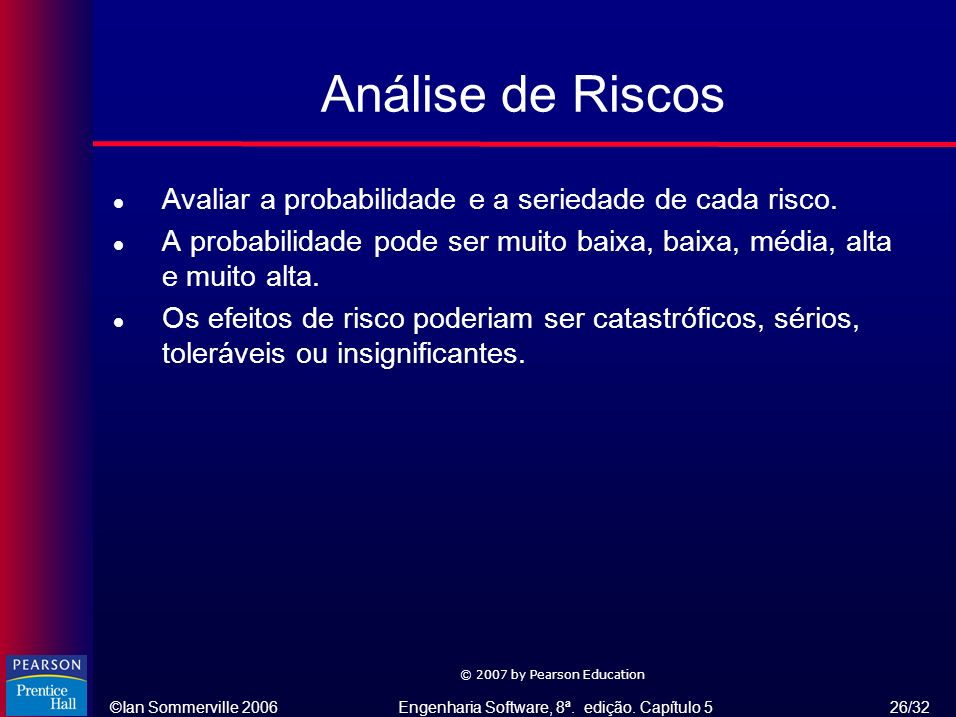 Análise de Riscos Avaliar a probabilidade e a seriedade de cada risco.