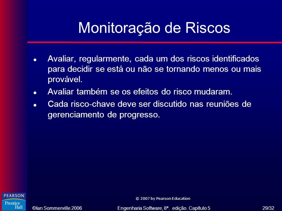 Monitoração de Riscos Avaliar, regularmente, cada um dos riscos identificados para decidir se está ou não se tornando menos ou mais provável.