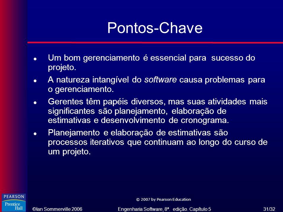 Pontos-Chave Um bom gerenciamento é essencial para sucesso do projeto.