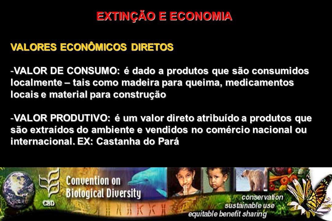 EXTINÇÃO E ECONOMIA VALORES ECONÔMICOS DIRETOS