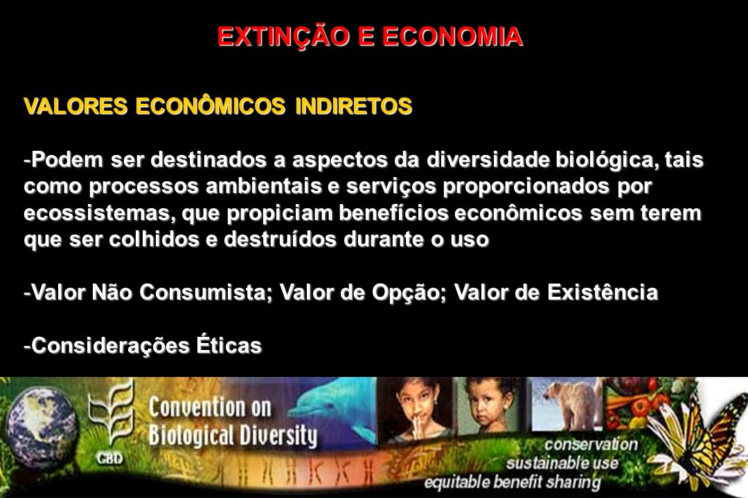 EXTINÇÃO E ECONOMIA VALORES ECONÔMICOS INDIRETOS