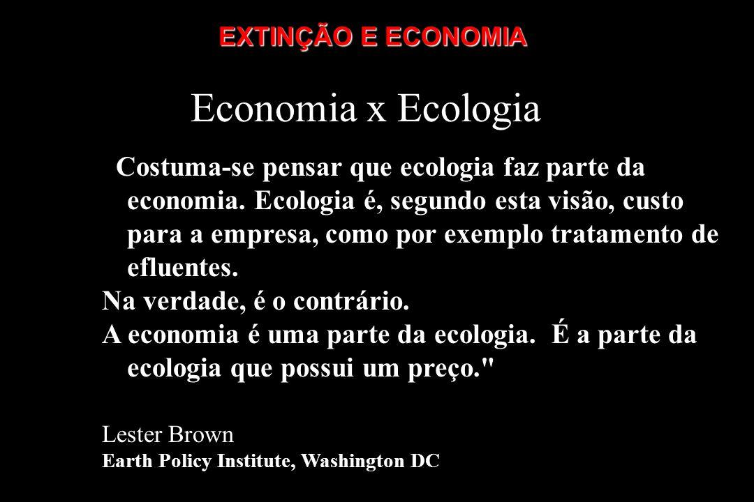EXTINÇÃO E ECONOMIA Economia x Ecologia.