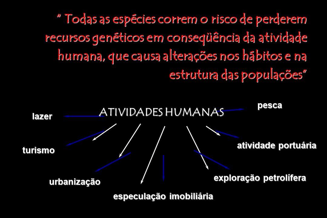 Todas as espécies correm o risco de perderem recursos genéticos em conseqüência da atividade humana, que causa alterações nos hábitos e na estrutura das populações