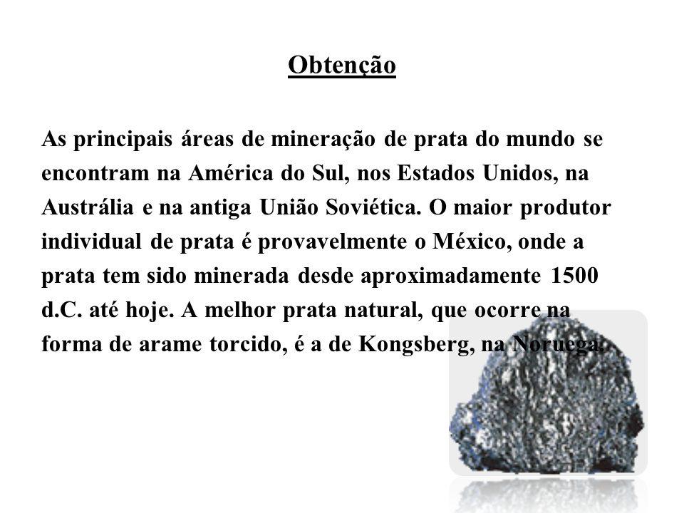 Obtenção As principais áreas de mineração de prata do mundo se