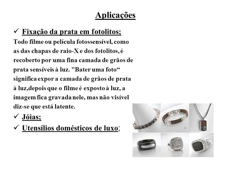 Aplicações Fixação da prata em fotolitos; Jóias;