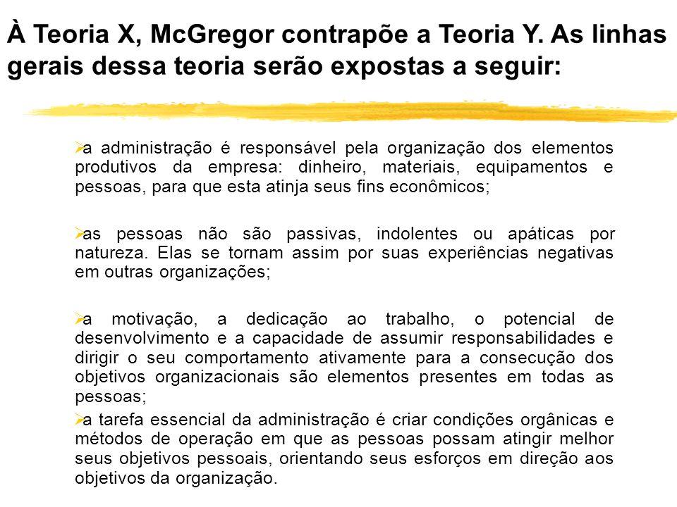 À Teoria X, McGregor contrapõe a Teoria Y