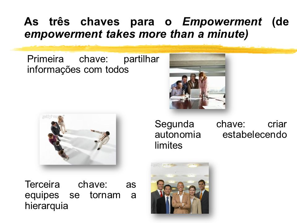 As três chaves para o Empowerment (de empowerment takes more than a minute)
