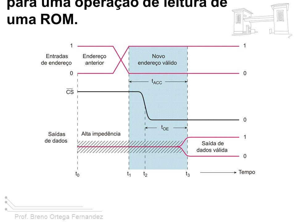 FIGURA 11-8 Temporização típica para uma operação de leitura de uma ROM.