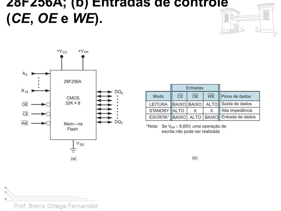 FIGURA 11-15 (a) Símbolo lógico para o chip de memória flash 28F256A; (b) Entradas de controle (CE, OE e WE).