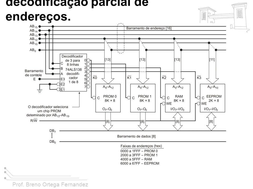 FIGURA 11-38 Um sistema com decodificação parcial de endereços.