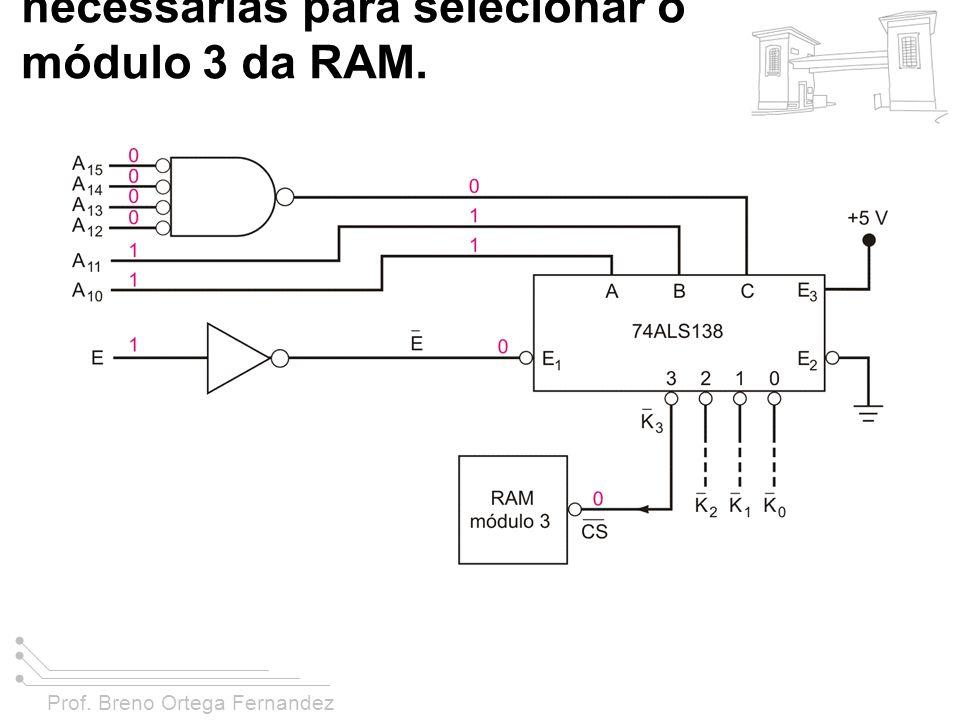 FIGURA 11-43 Exemplo 11-18, mostrando as condições do barramento de endereço necessárias para selecionar o módulo 3 da RAM.