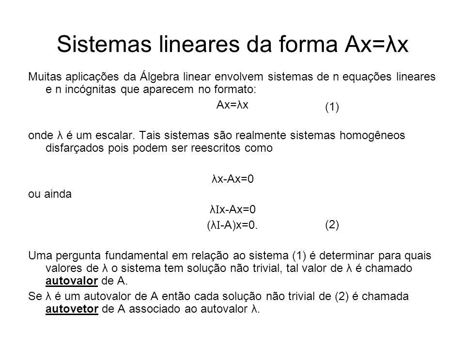 Sistemas lineares da forma Ax=λx